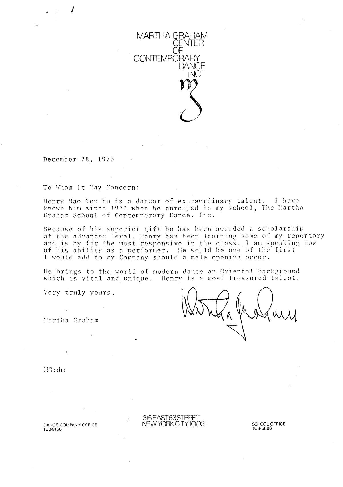 Lettera autografa di Marta Graham di accredito del M° Henry Yu
