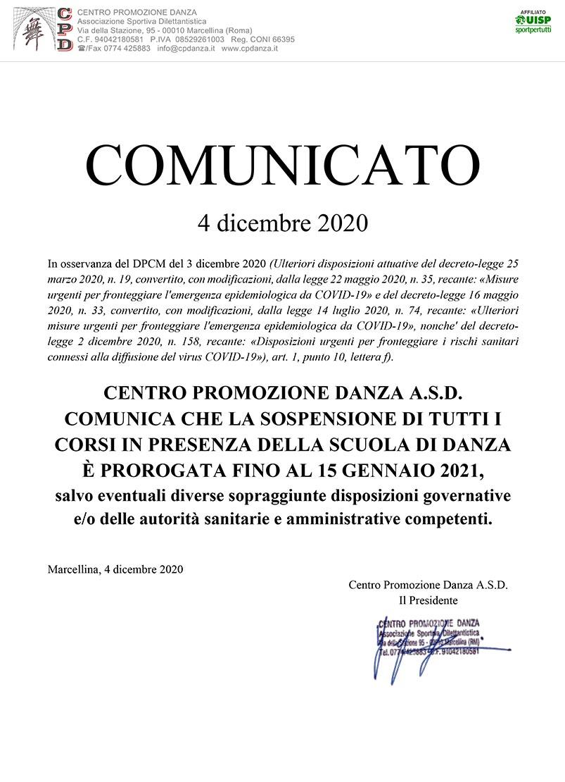 DPCM 03/12/2020 – Proroga sospensione attività in presenza
