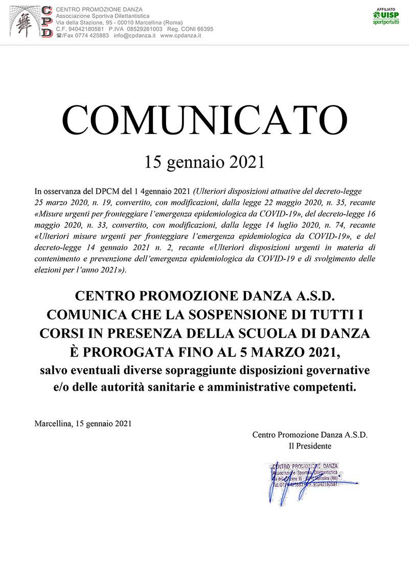 DPCM 14/01/2021 – Proroga sospensione attività in presenza