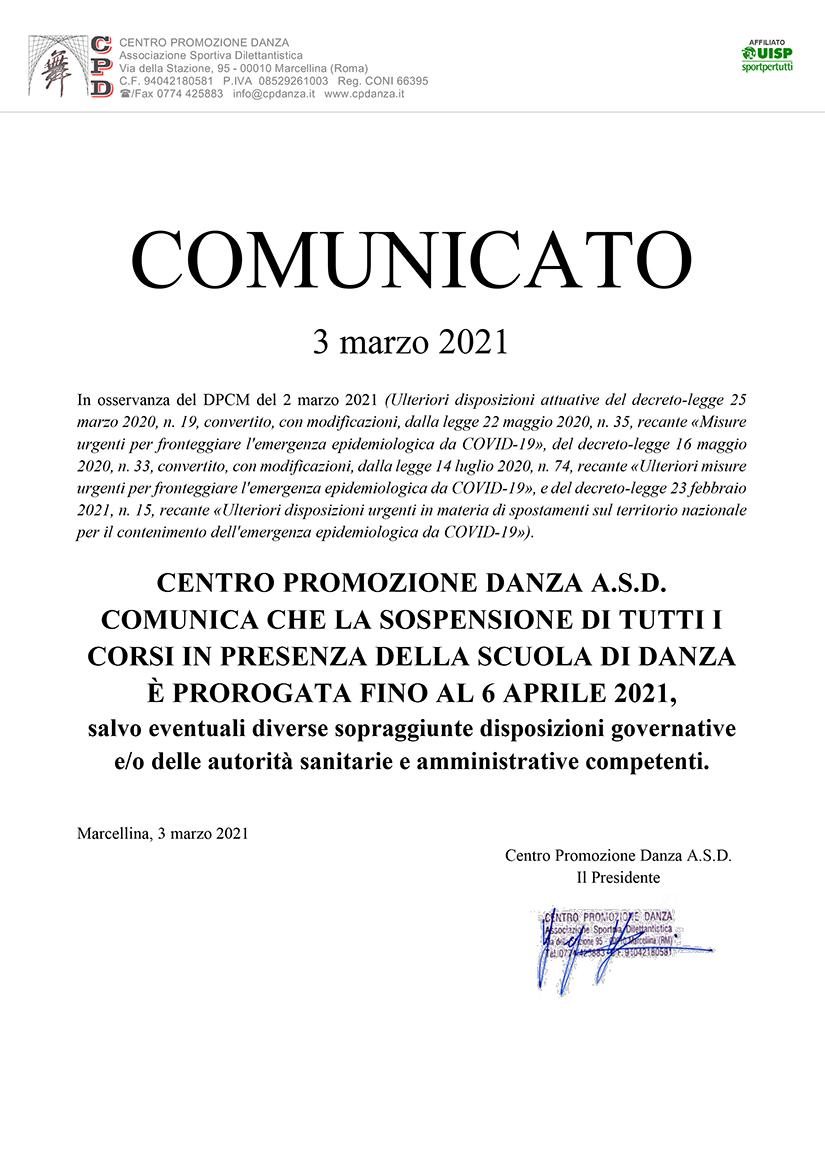 DPCM 02/03/2021 – Proroga sospensione attività in presenza