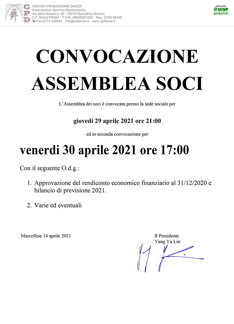 Convocazione Assemblea Soci 2021